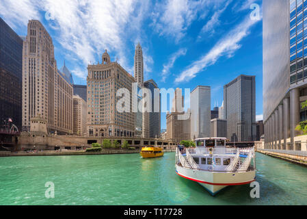 Chicago downtown and Chicago River at summer sunny day, Chicago, Illinois - Stock Photo