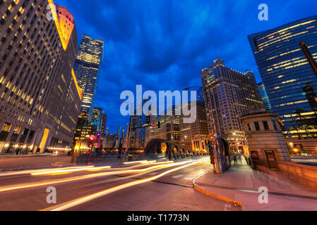 Night view of Chicago downtown in Chicago, Illinois - Stock Photo