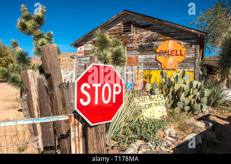 USA, ARIZONA, ROUTE 66, road and advertisement signs at Hackberry General Store on Route 66 between Kingman and Seligman - Stock Photo