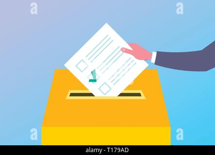 election day concept voter hand putting paper ballot list in box during voting flat horizontal - Stock Photo