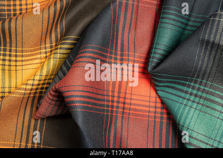 Colorful plaid fabric samples texture for the background. - Stock Photo