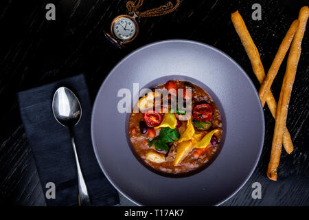 restaurant dishes. Beautiful and tasty food on a plate. beautiful serving food - Stock Photo