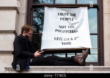London, UK. 23 March 2019. Remain supporters and protesters take part in a march to stop Brexit in Central London calling for a People's Vote. - Stock Photo