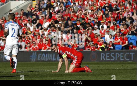 Wales' Gareth Bale reacts after a missed chance during the UEFA Euro 2020 Qualifying, Group E match at the Cardiff City Stadium. - Stock Photo