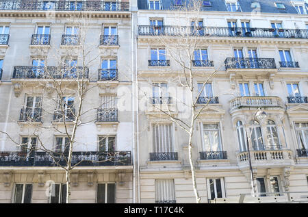 PARIS-FRANCE-FEB 24, 2019: The architecture of Paris has preserved the look and feel of many of its historic neighborhoods and streets, even though it - Stock Photo