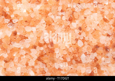 Lot of pieces of pink himalayan salt crystals closeup flatlay isolated - Stock Photo