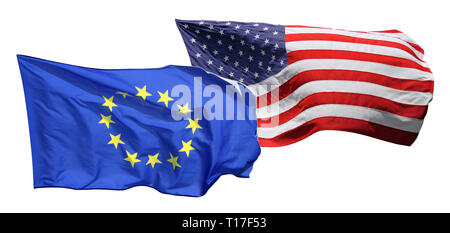 Flags of the United States of America and EU, isolated on white background - Stock Photo