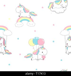 Unicorn Over Rainbow Children Seamless Pattern for Wrap Paper. Happy Little Pony Fly on Balloon. Child Holiday Greeting Magic Element Design on White - Stock Photo