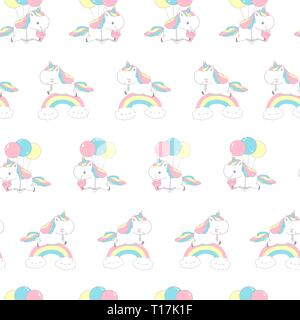Unicorn Over Rainbow Fashion Seamless Pattern for Textile Doodle. Happy Little Pony Fly on Balloon. Magic Holiday Beautiful Element Design on White - Stock Photo