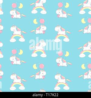Unicorn on Rainbow Universe Seamless Pattern for Fairy Doodle. Happy Funny Pony Fly on Balloon. Magic Holiday Fairytale Element Design on Blue - Stock Photo