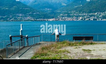 Blick von Piona über den Comer See nach Gravedona - Stock Photo