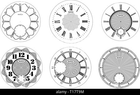 Clock face blank set isolated on white background. Vector watch design. Vintage roman numeral clock illustration. Black number round scale - Stock Photo