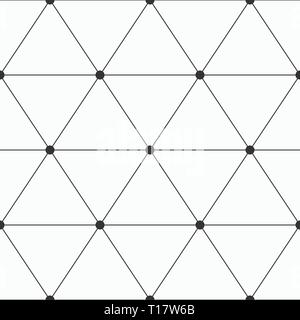 Vector seamless pattern. Geometric background of triangles with dots at the corners. Dots connected with lines. Modern stylish texture. - Stock Photo