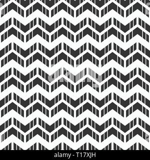 Abstract seamless pattern of arrows. Rhythmic structure of herringbone. Monochrome stylish texture with chevron. Vector geometric background. - Stock Photo