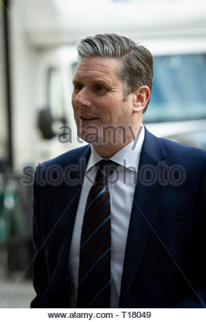 London, UK. 24th Mar, 2019. Keir Starmer arrives at BBC Broadcasting House before appearing on the Andrew Marr Show. Credit: David Nash/Alamy Live News - Stock Photo
