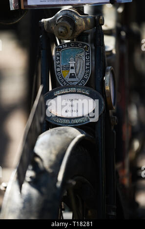 Brighton, UK. 24th March 2019. A 1911 Triumph at the 80th Anniversary Pioneer Run for pre 2015 veteran motorcycles . The run organised by the Sunbeam Motor Cycle Club begins on the Epsom Downs in Surrey and finishes on Madeira Drive on Brighton seafront Credit: Simon Dack/Alamy Live News - Stock Photo