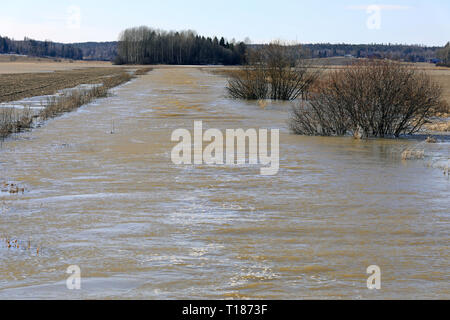 Tuohittu, Salo, Finland. March 24, 2019. Spring flooding of Muurlanjoki river onto fields in Tuohittu, Southwest of Finland. Due to melting ice and snow, spring flooding is expected to peak in South of Finland within a week. Credit: Taina Sohlman/ Alamy Live News - Stock Photo