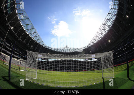 London, UK. 24th Mar 2019.  General view inside the Tottenham Hotspur  stadium prior to kick off. Tottenham Hotspur u18's  v Southampton u18's , the 1st test event at the new Tottenham Hotspur Stadium in London on Sunday 24th March 2019.  this image may only be used for Editorial purposes. Editorial use only, license required for commercial use. No use in betting, games or a single club/league/player publications . pic by Steffan Bowen Credit: Andrew Orchard sports photography/Alamy Live News - Stock Photo