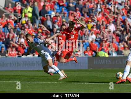 Cardiff, Wales, UK. 24th Mar 2019. Football, UEFA European Qualifiers Group E, Wales v Slovakia, 24/03/19, Cardiff City Stadium, K.O 2PM  Wales' David Brooks get fouled by Slovakia's David Hancko  Andrew Dowling Credit: Andrew Dowling/Influential Photography/Alamy Live News - Stock Photo
