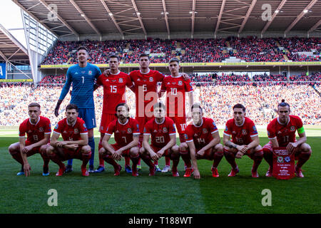 Cardiff, Wales, UK. 24th Mar 2019. Wales v Slovakia UEFA Euro 2020 Qualifier at the Cardiff City Stadium, Credit: Lewis Mitchell/Alamy Live News - Stock Photo