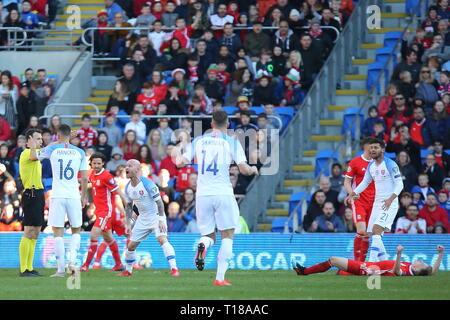 Cardiff, Wales, UK. 24th Mar 2019. UEFA EURO 2020 Qualifier, Wales v Slovakia. News only use. Credit: Gareth John/Alamy Live News - Stock Photo