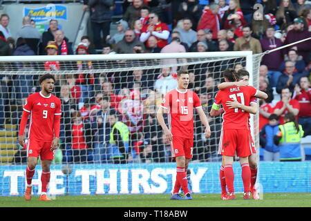 Cardiff, Wales, UK. 24th Mar 2019. UEFA EURO 2020 Qualifier, Wales v Slovakia Wales celebration, News only use. Credit: Gareth John/Alamy Live News - Stock Photo
