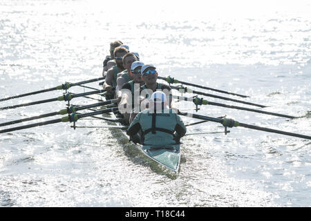 London, UK. 24th Mar, 2019. 24 March 2019. Boat Race Fixture. CUBC vs Oxford Brookes. As preparation for the The Boat Races, Oxford and Cambridge clubs participate in a number of Fixtures against other clubs, rowing the same Tideway course as used for the Boat Race. CUBC Crew List (Light Blue shirts):- Stroke: Natan Wegrzycki-Szymczyk, 7: Freddie Davidson, 6: Sam Hookway, 5: Callum Sullivan, 4: Dara Alizadeh, 3: Grant Bitler, 2: James Cracknell, Bow: Dave Bell, Cox: Matthew Holland Credit: Duncan Grove/Alamy Live News - Stock Photo