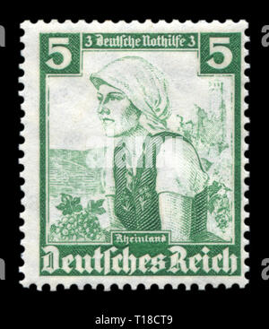 German historical stamp: National women's costume winemaker in Rhineland (rüdesheim Berg), the 'Emergency assistance' fund, 1935, Germany, DR - Stock Photo