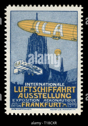 German historical stamp: The first international aviation exhibition in Frankfurt am Main. The ILA Berlin Air Show. Zeppelin airship, airplane,1909 - Stock Photo