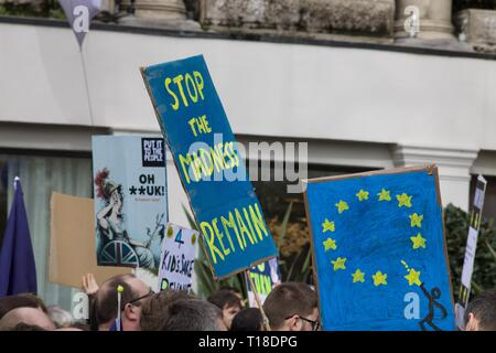 Pro Remain and other placards at the anti-Brexit Revoke Article 50 London march - Stock Photo