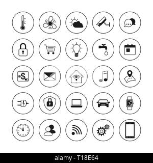 Technology icons. Smart house icons set. Internet of things concept. Smart home element system. Vector illustration - Stock Photo