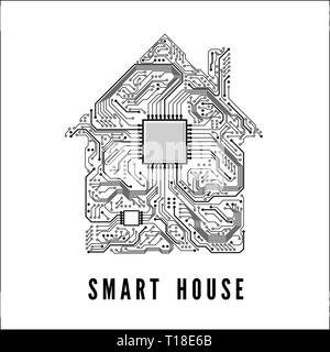 Smart house concept. Home from circuit tracks and CPU. Vector illustration - Stock Photo