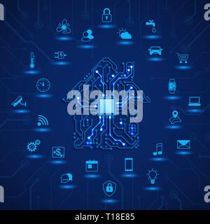 Smart house or IOT concept. Remote monitoring and control smart house. House circuit and smart home function icons. Vector illustration on blue backgr - Stock Photo