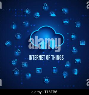 Internet of Things. IOT concept. Cloud and other icons IOT concept. Global network technology Internet control and monitoring. Systems automation devi - Stock Photo