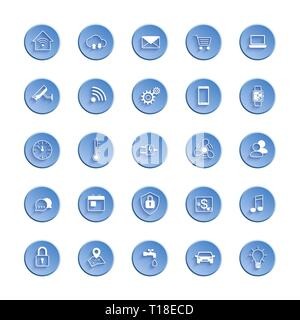Internet of things web icon set. Icon set of automation system and smart home control. Vector illustration - Stock Photo