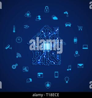 Smart house or IOT concept. Remote control smart house. House circuit and smart home appliance icons. Vector illustration on blue background - Stock Photo