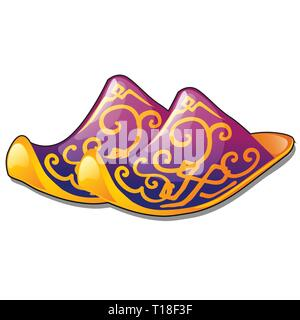 A pair of slippers of traditional oriental design isolated on white background. Vector cartoon close-up illustration. - Stock Photo