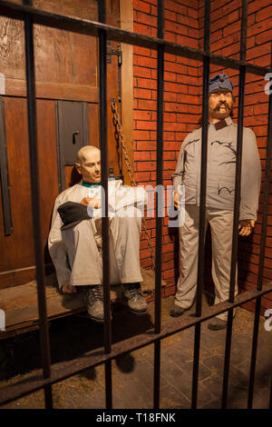 Army deserters wax figures in prison cell, one is the famous Good Soldier Svejk, exhibition in a fort at Kasciuszko Mound in Krakow, Poland - Stock Photo