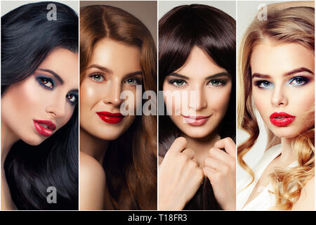 Haircare and hair coloring. Four woman with brunette, blond, brown and ginger hair - Stock Photo