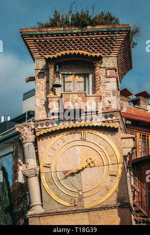 Tbilisi, Georgia. Close Up Details Of Famous Rezo Gabriadze Marionette Theater Clock Tower On Old City. Puppet Theater Museum In Tbilisi, Georgia