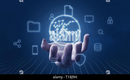 Hand holding globe concept with network threads surrounded with internet of things icons. - Stock Photo