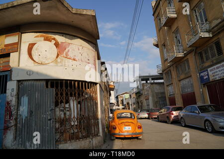 Nicosia has been inhabited for over 4,500 years and is the capital of Cyprus since the 10th century. The country divided after the 1974 war. - Stock Photo