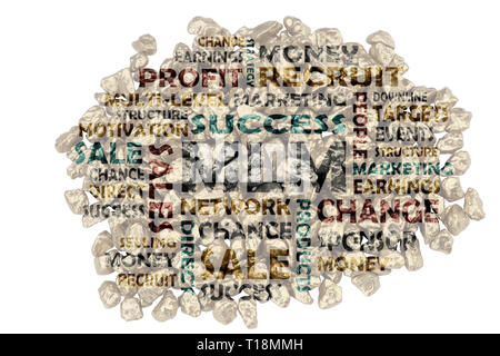 Keyword compilation on MLM, multi-level marketing - cut-out words from piles of golden split stones - Stock Photo