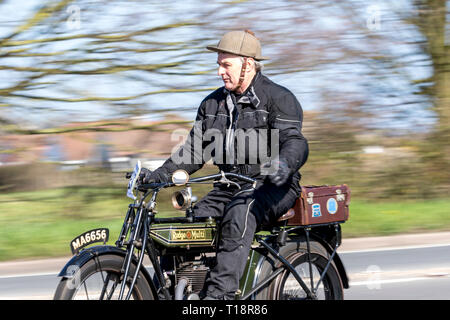 Upper Beeding, East Sussex, UK. 24th March 2019. The Sunbeam Motor Cycle Club celebrates its 80th London to Brighton run. All the machines taking part - Stock Photo