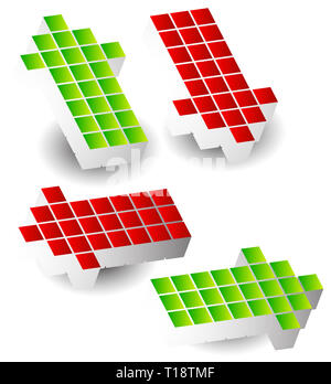 Set of 4 arrow pointing left, right, up, down. 3d arrows made of cubes, blocks. - Stock Photo