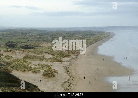 21 March 2019 - Saunton, Devon, UK. View of Saunton beach and the Braunton Burrows as seen from the Saunton Sands Hotel - Stock Photo