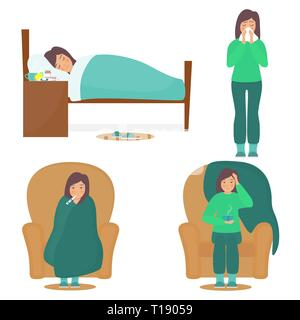 Woman character having cold. Sick young woman in bad, on chair, with a thermometer and cup of hot drink. Girl blows her nose. Flat vector illustration - Stock Photo