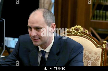 Acting Governor the Orenburg Region Denis Pasler, during a working meeting with Russian President Vladimir Putin at the Kremlin March 21, 2019 in Moscow, Russia. - Stock Photo