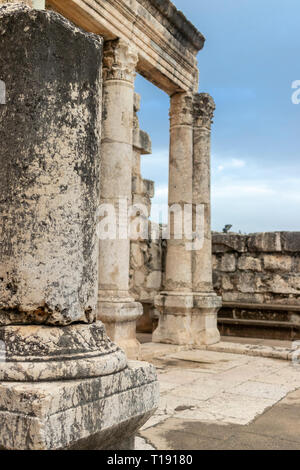 Ruins of the white synagogue in the Capharnaum the Town of Jesus. Israel. - Stock Photo