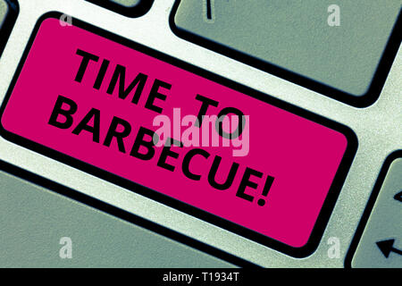 Writing note showing Time To Barbecue. Business concept for Relaxing cooking meat chicken pork on grill Summer activity Keyboard key Intention to crea - Stock Photo